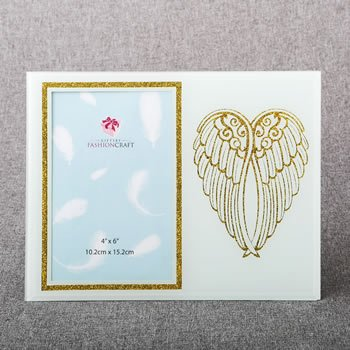 gold angel wings on white 4 x 6 frame image