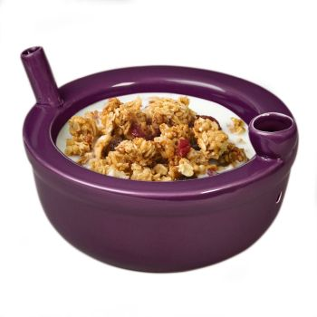 Novelty roast and toast Cereal bowl -  plum color image