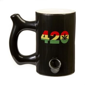 420 Mug - Black Mug with Rasta Colors image
