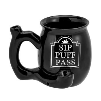 Sip Puff Pass mug - black with white letters image