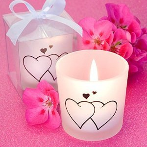 Double Heart Frosted Glass Candle Favors image