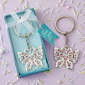 Beautiful Silver Butterfly design metal key chain image