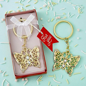Luxurious gold butterfly design metal key chain image