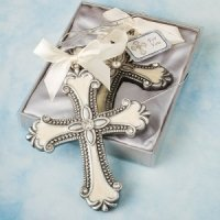 Pewter Cross Ornament with Enamel Inlay