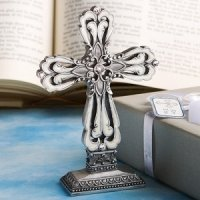 Pewter Cross Statue with Enamel Inlay
