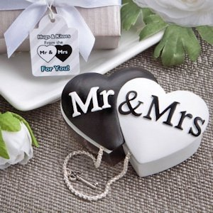 Mr. and Mrs. Interlocking Hearts Trinket Box Favors image
