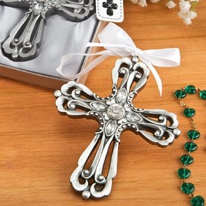 Antique Finish Silver Cross Ornament Favors image