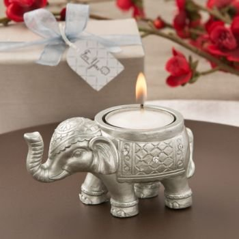 Good Luck Silver Indian Elephant Candle Holder Favor image