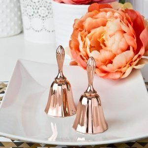 Rose Gold Metal Kissing Bell Favors image