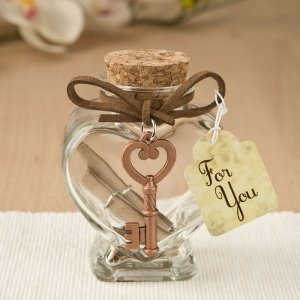 Glass Heart Message Jar with Copper Metal Key Accent image