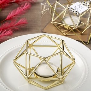 Gold Hexagon Geometric Design Tea Light Candle Holder Favors image