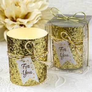 Gold Beaded Bling Candle Votive Favors image
