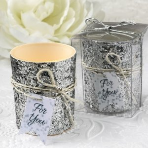 Silver Beaded Bling Candle Votive Favors image