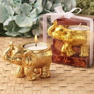 Good Fortune Design Gold Elephant Candle Holder Favors image