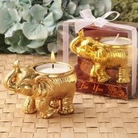 Good Fortune Design Gold Elephant Candle Holder Favors