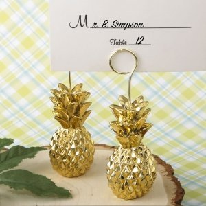 Warm Welcome Collection Gold Pineapple Themed Place Card Hol image