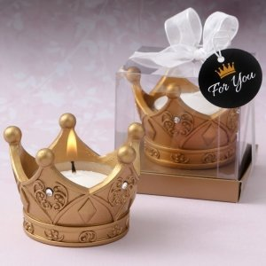 Royal Gold Crown Tea Light Candle Favor image