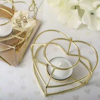 Love Themed Gold Heart Wire Tealight Holder image