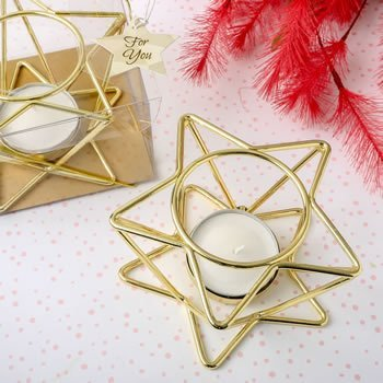 Celestial Themed Gold Star Wire Tealight Holder image