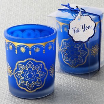 Moroccan Themed Blue Frosted Glass Candle Holder image