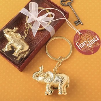 Gold Metal 3D Good Luck Elephant Key Chain image