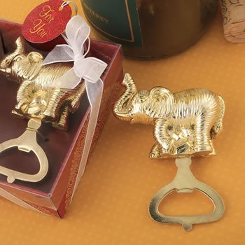 Golden Elephant Bottle Opener Favor image