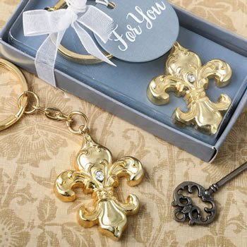 Fleur De Lis Golden Key Chain Favor image