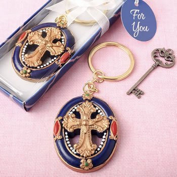 Gold Cross Themed Key Chain Favor image