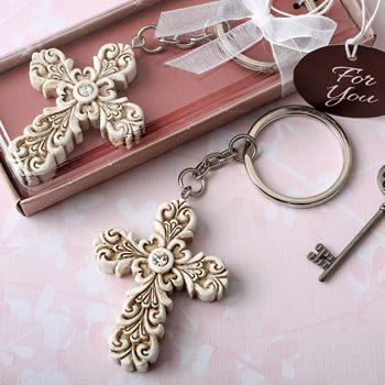 Baroque Design Vintage Cross Key Chain Favor image