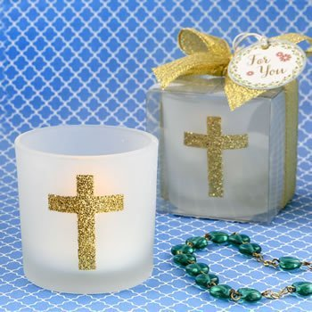 Cross Themed White Frosted Glass Candle Votive Holder image