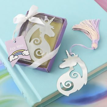 Majestic Silver Metal Unicorn Bookmark Favors image