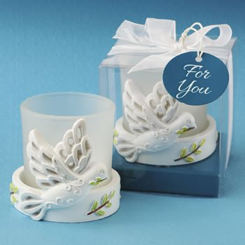 Elegant White Dove Candle Favor image