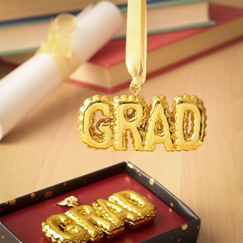 Gold Grad Hanging Ornament image