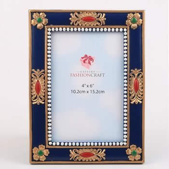 Magnificent Blue and Gold Ornate 4x6 Frame image