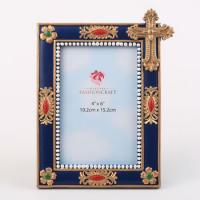 Magnificent Blue and Gold Cross 4x6 Frame