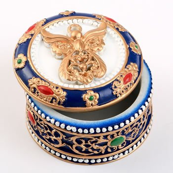 Ornate Angel Covered Trinket Box Favor image