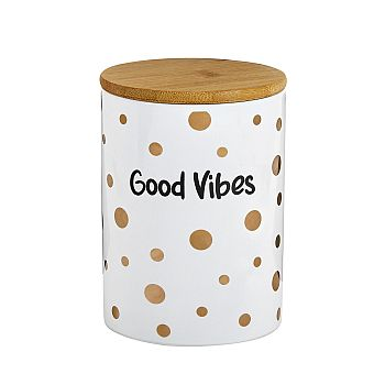 Deluxe canister - stash jar � WHITE CANISTER - GOLD Polka image
