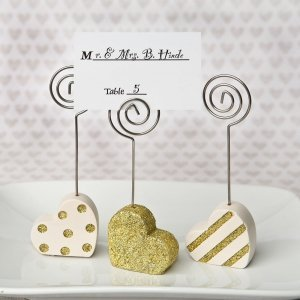 Gold and Pearl Heart Shaped Placecard Holders image