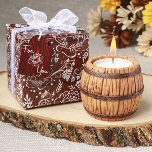 Wine Barrel Themed Tea Light Candle Holder Favors image