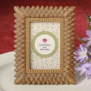 Brushed Gold Leaf Design Place Card Photo Frame Favors image