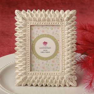 Ivory and Brushed Gold Leaf Place Card Photo Frame Favor image
