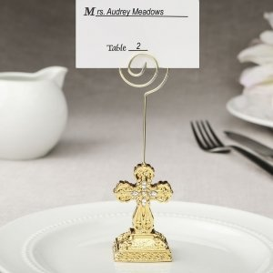 Gold Cross Themed Placecard Holder Photo Holder Favors image