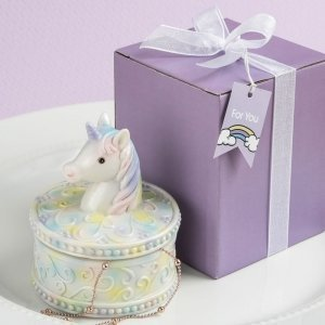 Delightful Unicorn Design Jewelry Box Favors image