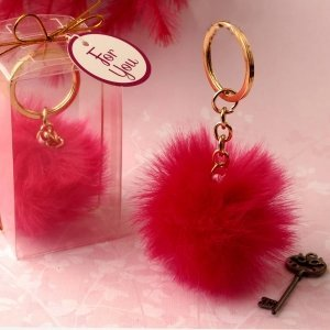 Fluffy Hot Pink Pom Pom With Gold Key Chain Favors image