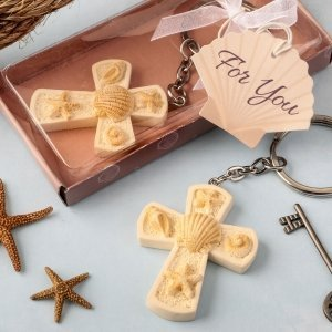 Beach Themed Cross Key Chain Favors image