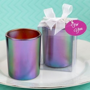 Stunning Iridescent Candle Holder With Tea Light Candle image