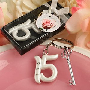 Quince Party Favor Keychains (Sweet 15 Birthday) image