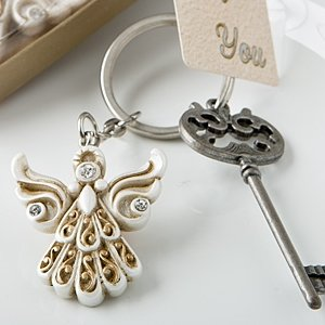 Vintage Inspired Angel Key Chain Religious Favors image