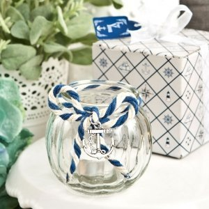 Anchor Nautical Themed Clear Glass Round Globe Candle Holder image