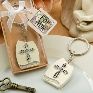 Beautiful Cross Themed Plaque Key Chain Favors image